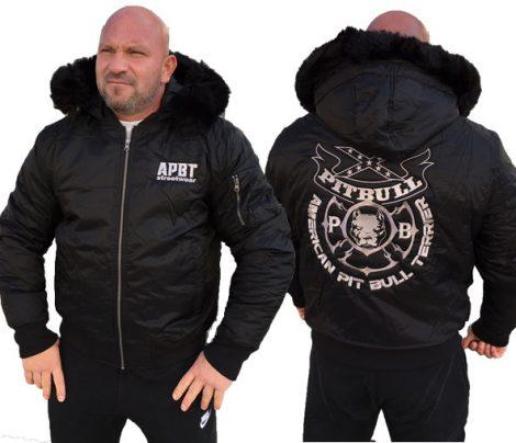 APBT Streetwear PIT BULL GANG 3 kapucnis téli dzseki fekete