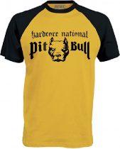 APBT Streetwear PITBULL HARDCORE NATIONAL Baseball póló sárga/fekete