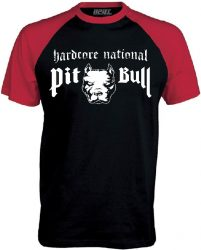 APBT Streetwear PITBULL HARDCORE NATIONAL Baseball póló fekete/piros