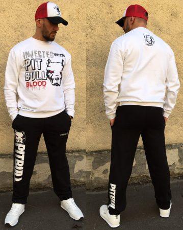 APBT Streetwear PITBULL BLOOD sweatshirt SZETT FEHÉR-FEKETE