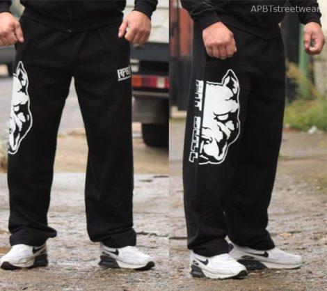 APBT Streetwear PIT BULL MODE szabadidő nadrág fekete
