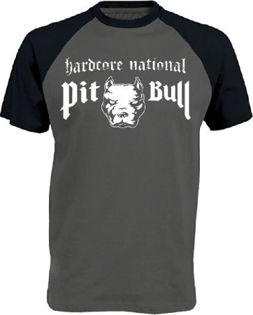 APBT Streetwear PITBULL HARDCORE NATIONAL Baseball póló szürke/fekete