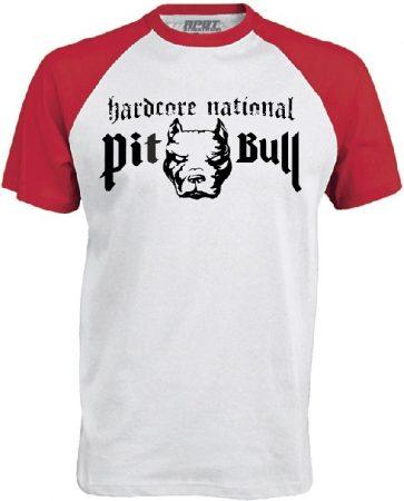 APBT Streetwear PITBULL HARDCORE NATIONAL Baseball póló fehér/piros