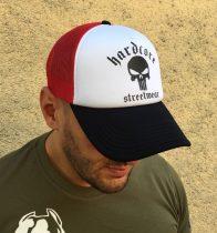 APBT Streetwear HARDCORE SKULL - TRUCKER CAP-fehér-piros-fekete