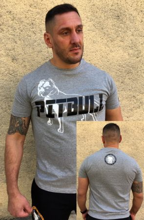 APBT Streetwear PIT BULL GREAT FIGHTER póló szürke
