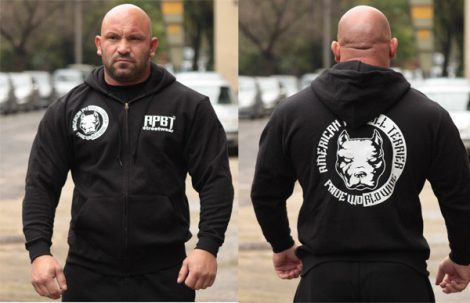 APBT Streetwear PIT BULL P.W.W. kapucnis pulóver fekete  S-5XL-ig