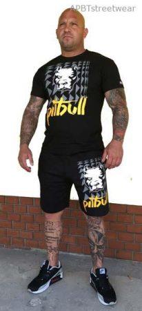 APBT streetwear PIT BULL THOR short+póló szett fekete