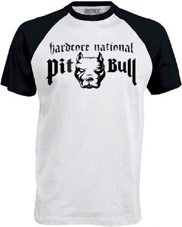 APBT Streetwear PITBULL HARDCORE NATIONAL Baseball póló fehér/fekete